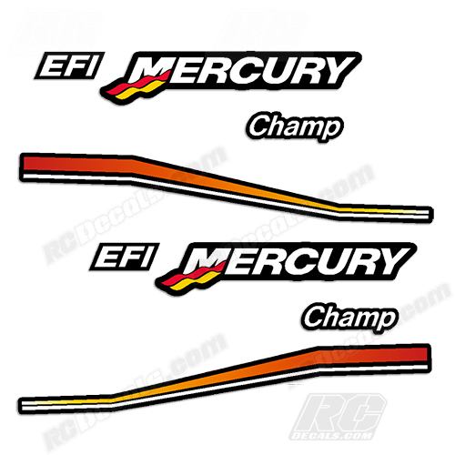 RCDecalscom Mercury Champ Decals For  Scale RC Outboard Engines - Vinyl stickers for rc boats