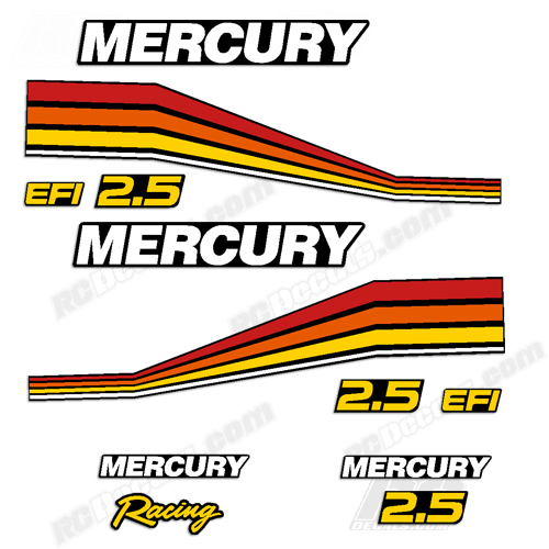 RCDecalscom Mercury Racing Decals For  Scale RC Outboard Engines - Vinyl stickers for rc boats