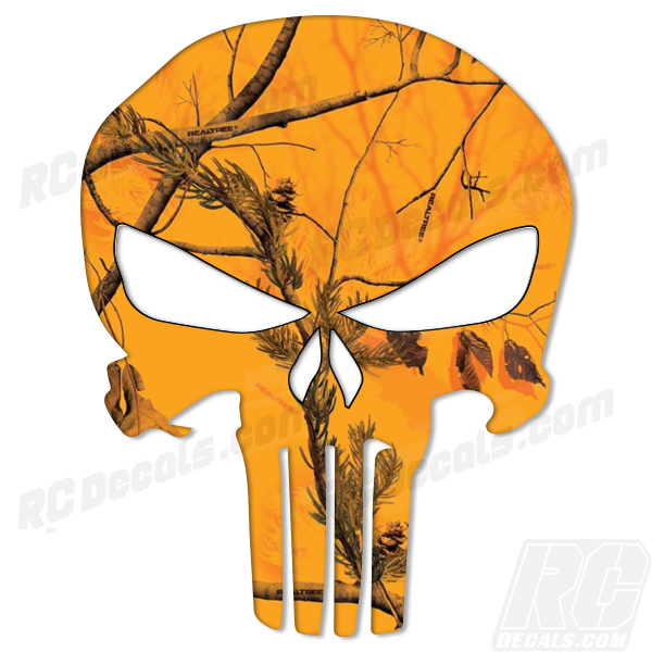 Punisher Decal - RealTree Blaze Camo Punisher, realtree, real tree, real tree camo, realtree camo, realtree blaze, realtree blaze camo, rc decals, rc, radio controlled, decals, team associated, chassis protector decals, rc cars, rc truck, rc starter wand, rc graphics, rc graphic kits, drone, rc drone, drone decals, traxxas decals, rc stickers, flag decals, radio controlled car stickers, drone stickers, dji stickers, dji decals, losi decals, losi stickers