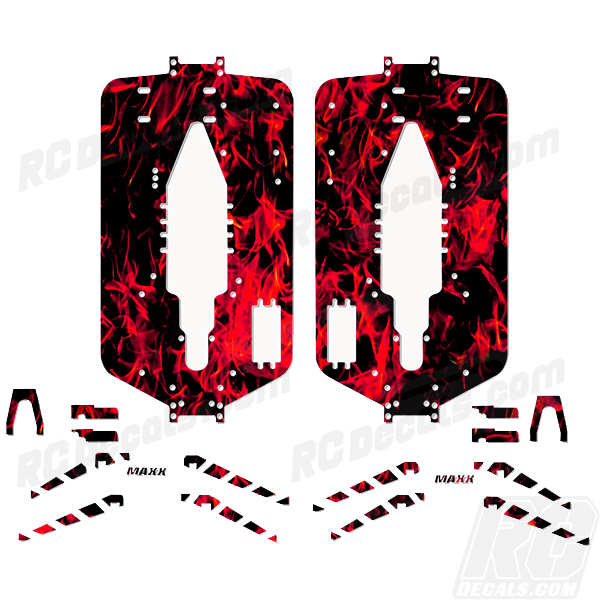 Traxxas T-Maxx 3.3 Extended Chassis Protector Decal Kit- Flames rc decals, rc, radio controlled, decals, team associated, chassis protector decals, rc cars, rc truck, rc starter wand, rc graphics, rc graphic kits, drone, rc drone, drone decals, traxxas decals, rc stickers, flag decals, radio controlled car stickers, drone stickers, dji stickers, dji decals, losi decals, losi stickers