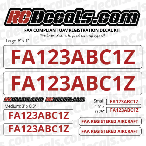 Drone FAA Registration Decal Kit - Any Color! - DRONE-REG