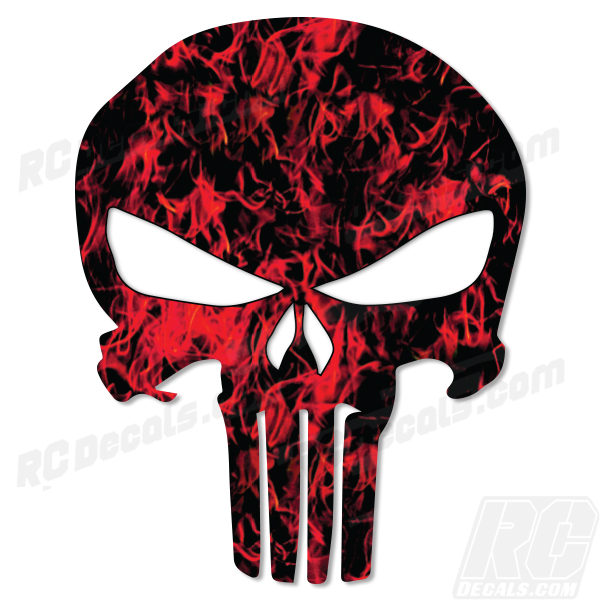 Punisher Decal - Flames fox racing, fox head, fox, rc decals, rc, radio controlled, decals, team associated, chassis protector decals, rc cars, rc truck, rc starter wand, rc graphics, rc graphic kits, drone, rc drone, drone decals, traxxas decals, rc stickers, flag decals, radio controlled car stickers, drone stickers, dji stickers, dji decals, losi decals, losi stickers