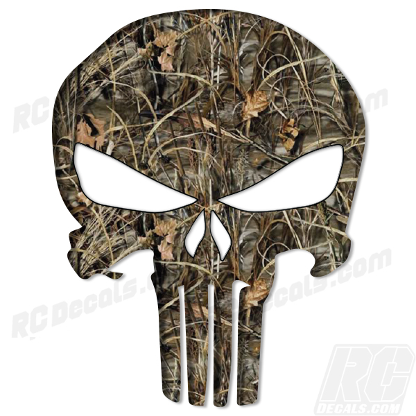 Punisher Decal - Real Tree Max 4 Punisher, realtree, real tree, real tree camo, realtree camo, realtree blaze, realtree blaze camo, rc decals, rc, radio controlled, decals, team associated, chassis protector decals, rc cars, rc truck, rc starter wand, rc graphics, rc graphic kits, drone, rc drone, drone decals, traxxas decals, rc stickers, flag decals, radio controlled car stickers, drone stickers, dji stickers, dji decals, losi decals, losi stickers