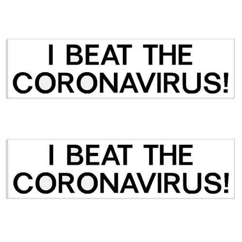 """I Beat The Coronavirus"" Decal / Bumper Sticker (Set of 2) coronavirus decals, covid-19 decals, rc decals, rc, radio controlled, decals, team associated, chassis protector decals, rc cars, rc truck, rc starter wand, rc graphics, rc graphic kits, drone, rc drone, drone decals, traxxas decals, rc stickers, flag decals, radio controlled car stickers, drone stickers, dji stickers, dji decals, losi decals, losi stickers"
