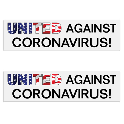 """United Against Coronavirus"" Decal / Bumper Sticker (Set of 2) coronavirus decals, covid-19 decals, rc decals, rc, radio controlled, decals, team associated, chassis protector decals, rc cars, rc truck, rc starter wand, rc graphics, rc graphic kits, drone, rc drone, drone decals, traxxas decals, rc stickers, flag decals, radio controlled car stickers, drone stickers, dji stickers, dji decals, losi decals, losi stickers"