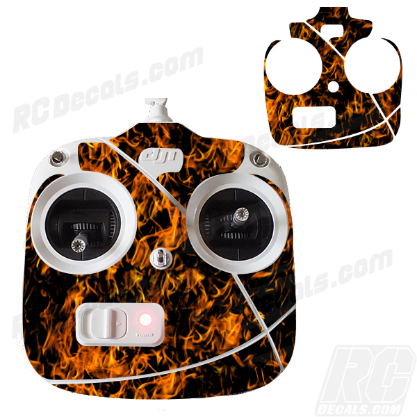 RC DJI Phantom Controller Decals - Flames rc decals, rc, radio controlled, decals, team associated, chassis protector decals, rc cars, rc truck, rc starter wand, rc graphics, rc graphic kits, drone, rc drone, drone decals, traxxas decals, rc stickers, flag decals, radio controlled car stickers, drone stickers, dji stickers, dji decals, losi decals, losi stickers