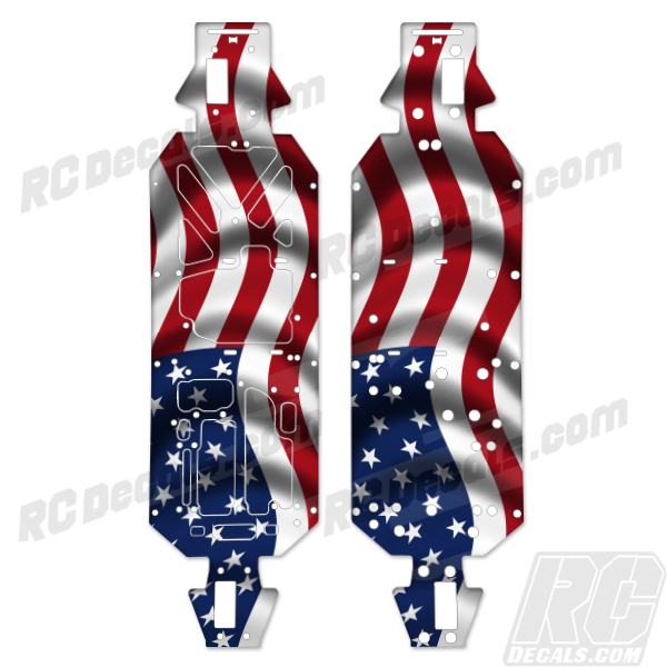 Losi 5ive T 5t Chassis Protector Decal Kit - American Flag rc decals, rc, radio controlled, decals, team associated, chassis protector decals, rc cars, rc truck, rc starter wand, rc graphics, rc graphic kits, drone, rc drone, drone decals, traxxas decals, rc stickers, flag decals, radio controlled car stickers, drone stickers, dji stickers, dji decals, losi decals, losi stickers